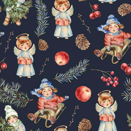 Watercolor winter vintage seamless pattern Banco de Imagens