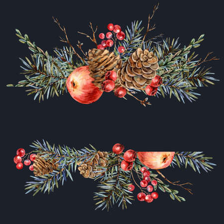 Watercolor Christmas natural template of fir branches, red apple, berries, pine cones, vintage botanical greeting card isolated on black Banco de Imagens - 134548088