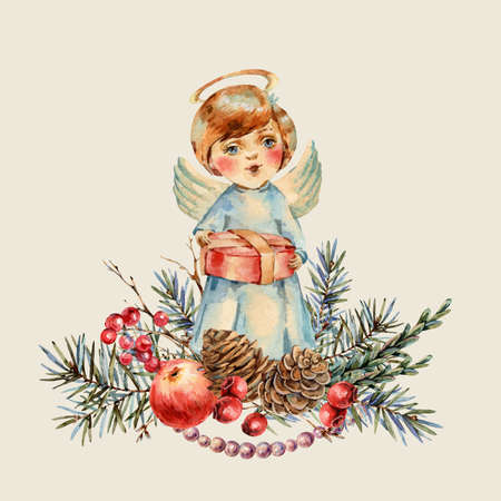 Watercolor Christmas cute boy with a gift in his hands sings a Christmas song. Banco de Imagens - 134548067