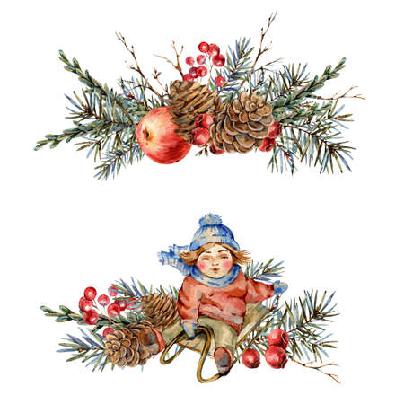 New Year winter watercolor vintage decoration  isolated on white Banco de Imagens - 134548081