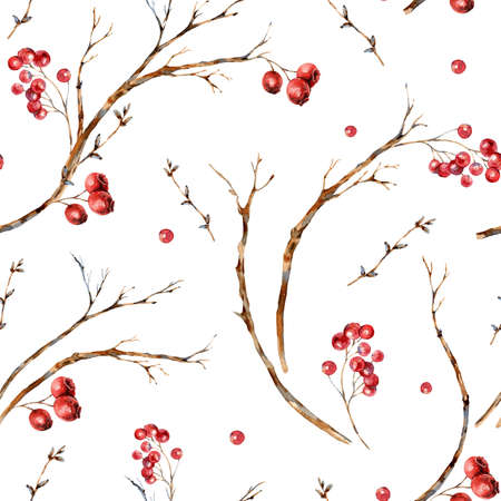Watercolor winter natural seamless pattern of tree branches, red berries.