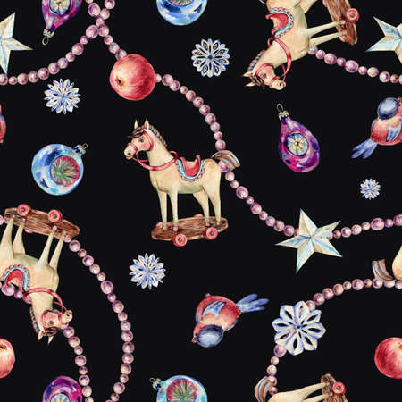 Watercolor vintage Christmas toys seamless pattern. Banco de Imagens - 134548083