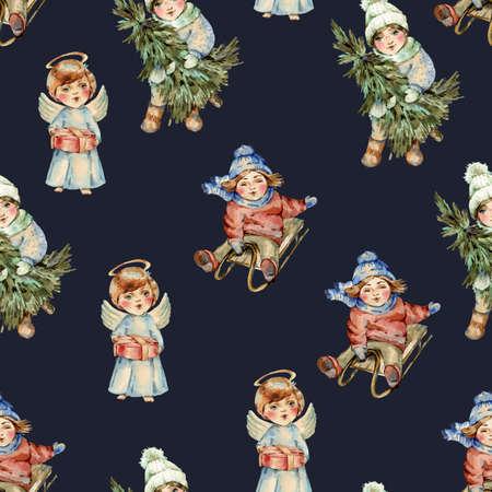 Watercolor winter vintage Christmas  seamless pattern Banco de Imagens