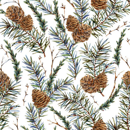 Watercolor forest seamless  with sprig of fir trees, pine cones Banco de Imagens - 134548086