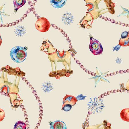 Watercolor vintage Christmas toys seamless pattern. Banco de Imagens