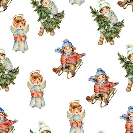 Watercolor winter vintage Christmas  seamless pattern, Cute characters texture on white Banco de Imagens - 134548087