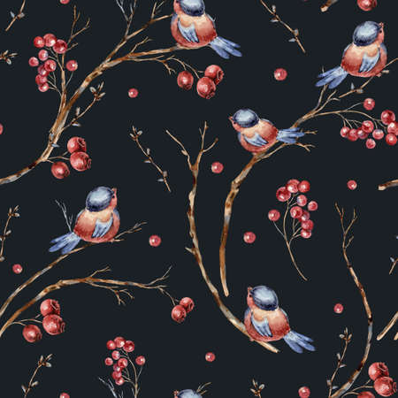 Watercolor winter natural seamless pattern of birds, tree branches, red berries. Banco de Imagens - 134547967