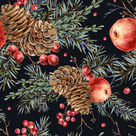 Watercolor woodland natural seamless pattern of fir branches, red apple, berries, pine cones, vintage botanical wallpaper on white Banco de Imagens - 134547963