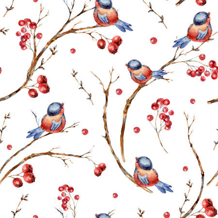 Watercolor winter natural seamless pattern of birds, tree branches, red berries. Banco de Imagens - 134547966