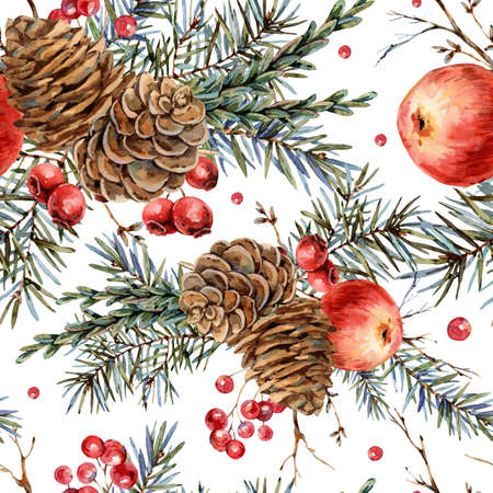 Watercolor woodland natural seamless pattern of fir branches, red apple, berries, pine cones, vintage botanical wallpaper on white Banco de Imagens - 134547973