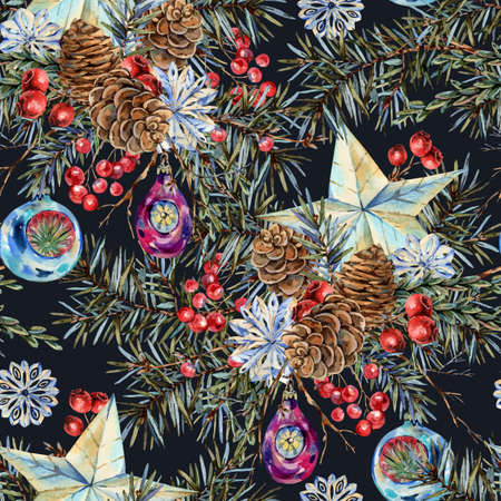 Watercolor Christmas seamless pattern with natural bouquet of fir branches, star, pine cones, vintage botanical texture on black