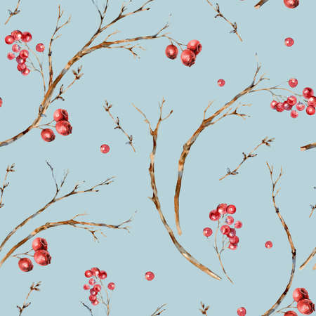 Watercolor winter natural seamless pattern of tree branches, red berries. Banco de Imagens - 134547970