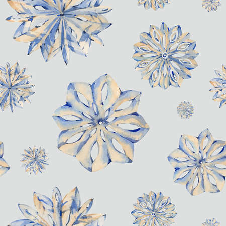 Watercolor winter seamless pattern with snowflakes Banco de Imagens