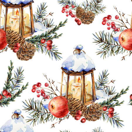 Watercolor Christmas natural seamless pattern of fir branches, red apple, berries, pine cones, lantern, vintage texture on white Banco de Imagens