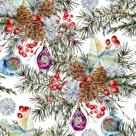Watercolor Christmas seamless pattern with natural bouquet of fir branches, star, pine cones, vintage botanical texture on white Banco de Imagens
