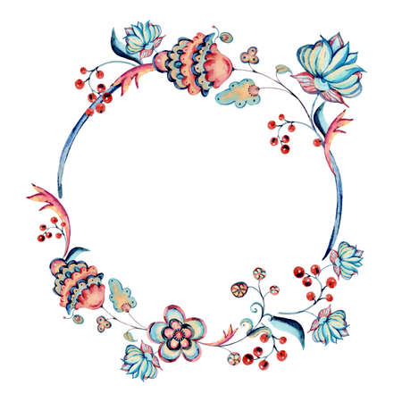 Watercolor natural floral ornamental wreath, hand painted vintage flowers round frame isolated on white background