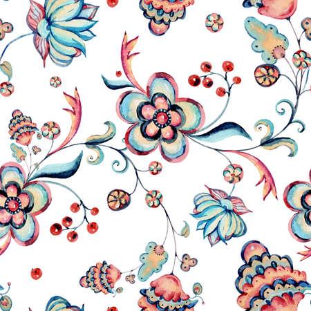 Watercolor natural floral ornamental seamless pattern, hand painted vintage flowers arrangement on white background Banco de Imagens