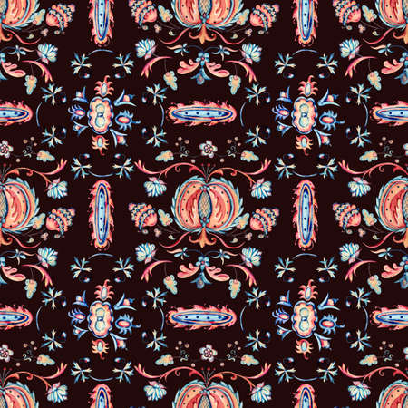 Watercolor natural floral ornamental seamless pattern, hand painted vintage flowers texture on black background Banco de Imagens - 135947293
