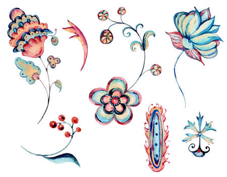Watercolor natural set of floral ornament, curl, hand painted vintage flowers objects, plants design collection isolated on white background Banco de Imagens