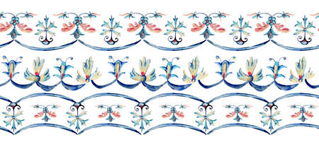 Watercolor seamless border with natural floral ornament, hand painted vintage flowers texture, folk motive on white background