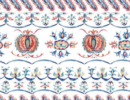 Watercolor seamless pattern with natural floral ornament, hand painted vintage flowers texture, folk motive on white background Banco de Imagens - 135947299