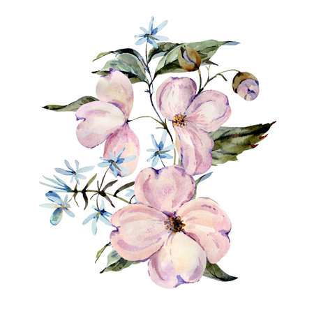 Gentle watercolor pink and light blue flowers, twigs, leaves, buds greeting card. Hand painted vintage floral illustration isolated on white background. Banco de Imagens - 136413819
