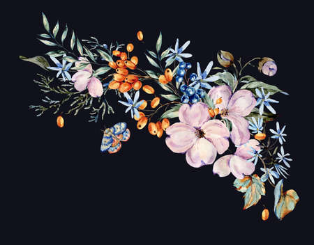 Gentle watercolor bouquet with pink, light blue flowers, blue and orange berries, twigs, leaves, buds. Natural greeting card. Hand painted vintage floral illustration isolated on black background. Banco de Imagens - 136413833