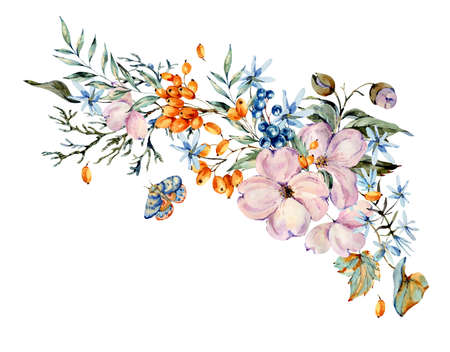 Gentle watercolor bouquet with pink, light blue flowers, blue and orange berries, twigs, leaves, buds. Natural greeting card. Hand painted vintage floral illustration isolated on white background. Banco de Imagens - 136413830
