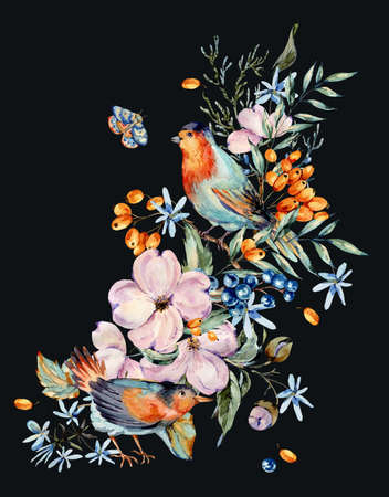 Gentle watercolor bouquet with pair of birds, pink, flowers, blue and orange berries, twigs, leaves, buds. Natural greeting card. Hand painted vintage floral illustration isolated on black background.