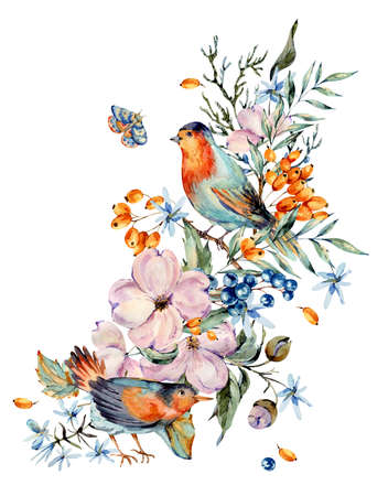 Gentle watercolor bouquet with pair of birds, pink, flowers, blue and orange berries, twigs, leaves, buds. Natural greeting card. Hand painted vintage floral illustration isolated on white background.