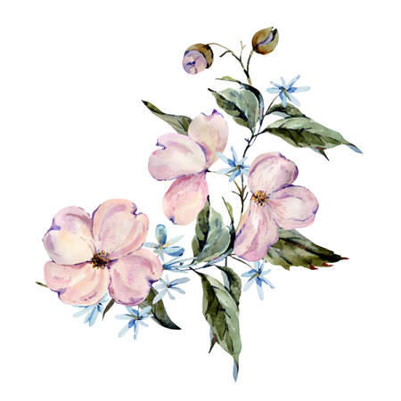 Gentle watercolor pink and light blue flowers, twigs, leaves, buds greeting card. Hand painted vintage floral illustration isolated on white background.