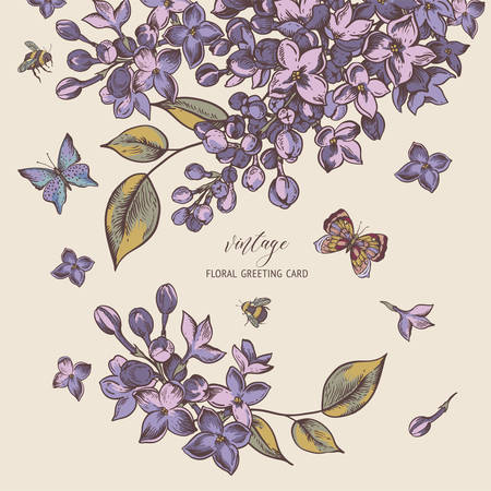 Vector vintage spring greeting card with blooming flowers of lilac, natural illustration. Butterflies and bees