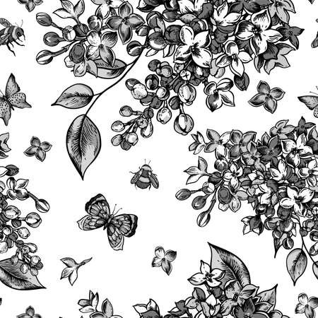 Vector monochrome vintage spring seamless pattern with blooming flowers of lilac