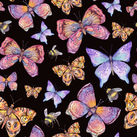 Watercolor natural colorful butterfly seamless pattern. Standard-Bild