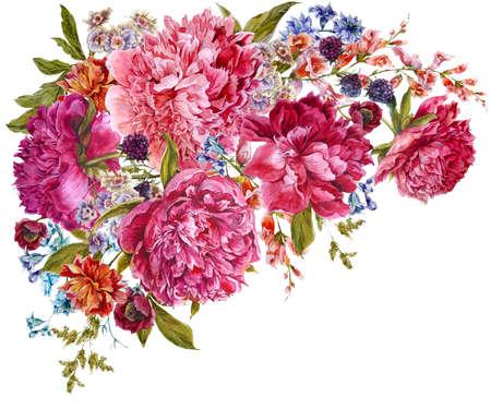 Watercolor burgundy peonies, natural dark pink peonies flower, berries, wildflowers, spring, summer isolated illustration, vintage floral template