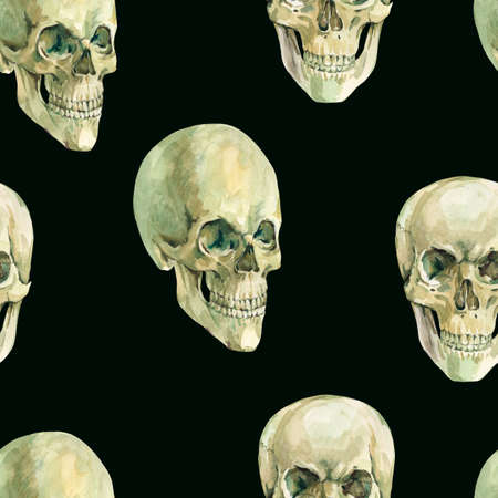 Watercolor skull seamless pattern, creepy skull texture on blackbackground. Spooky skull wallpaper