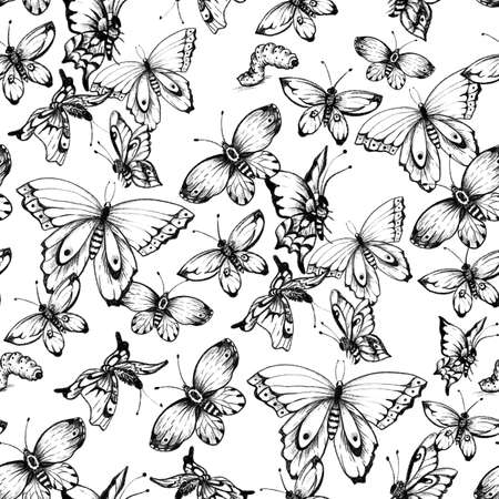 Vintage monochrome butterflies seamless pattern. Natural butterfly texture Stockfoto - 159014735