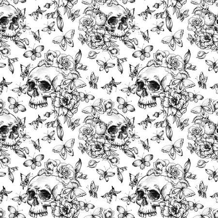 Vintage seamless pattern with goth skull, butterdlies and flowers on white background. Dead of the dead texture. Stockfoto - 159014736