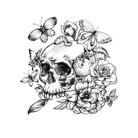 Vintage goth skull with butterdlies and flowers isolated on white background. Dead of the dead illustration. Stockfoto - 159014739