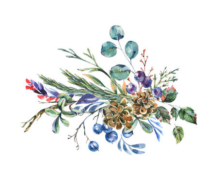 Watercolor blue winter flowers, wildflowers. Vintage botanical greeting card. Forest floral illustration isolated on white background.