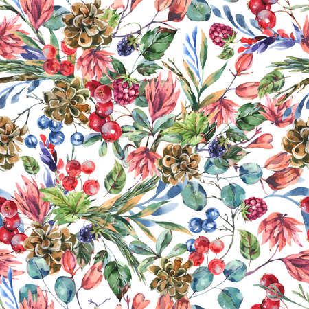 Watercolor winter flowers seamless pattern, wildflowers. Vintage botanical texture of wooodland plants. Forest floral wallpaper on white background. Stockfoto