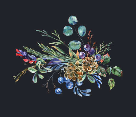 Watercolor blue winter flowers, wildflowers. Vintage botanical greeting card. Forest floral illustration isolated on black background. Stockfoto - 158965397