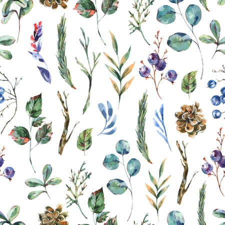 Watercolor winter flowers seamless pattern, wildflowers. Vintage botanical texture. Forest floral wallpaper on white background. Stockfoto