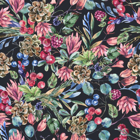 Watercolor winter flowers seamless pattern, wildflowers. Vintage botanical texture of wooodland plants. Forest floral wallpaper on black background. Stockfoto - 159014743