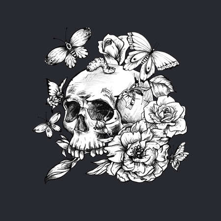 Vintage goth skull with butterdlies and flowers isolated on black background. Dead of the dead illustration.