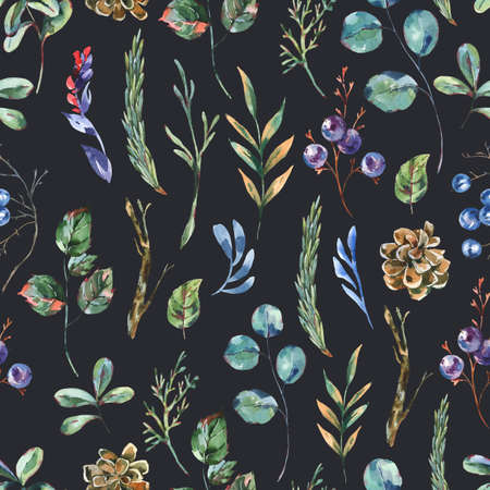 Watercolor winter flowers seamless pattern, wildflowers. Vintage botanical texture. Forest floral wallpaper on black background. Stockfoto