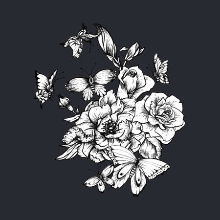 Vintage monochrome floral botanical illustration on white background. Black and black roses and butterflies. Natural collection.