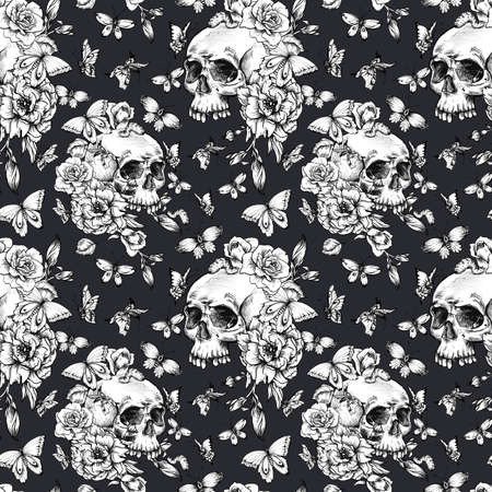 Vintage seamless pattern with goth skull, butterdlies and flowers on black background. Dead of the dead texture.