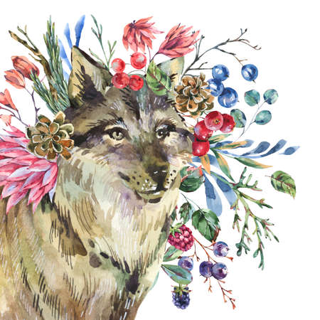 Watercolor wolf with flowers isolated on white background. Forest animals illustration. Woodland flowers. Stockfoto - 158965723