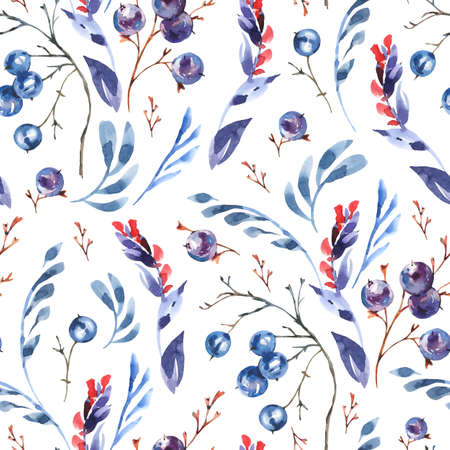 Watercolor blue flowers seamless pattern, wildflowers, berries. Vintage botanical texture. Forest floral wallpaper on white background. Stockfoto